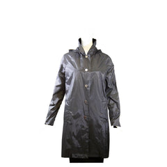 JANE POST Fiordo Black Silver Snap Front Button Hood Rain Trench Coat Jacket S