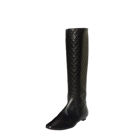 CHANEL 17A Black Leather Gold Charm Chain Boots 37.5