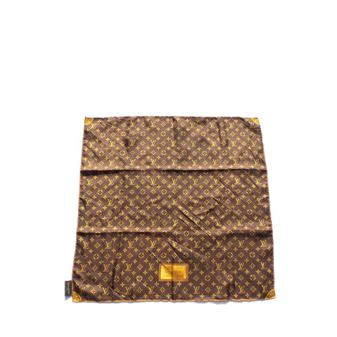 LOUIS VUITTON Monaco Monogram Tan Camel Beige Shine Silk Square Scarf 35""