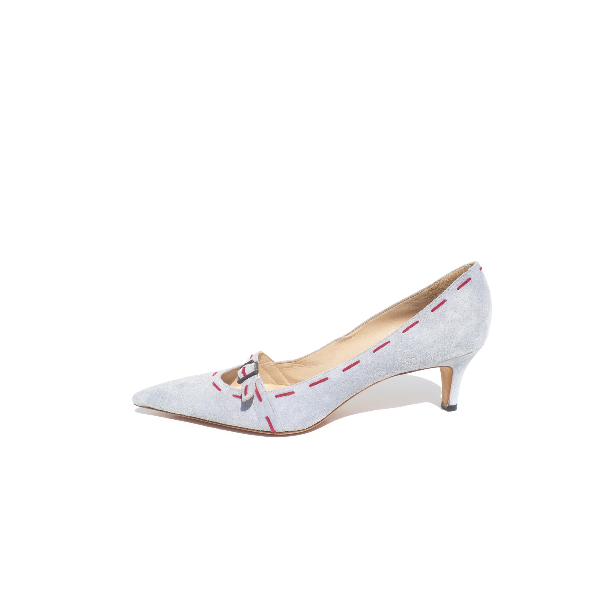 978753d4ef7 Sold' MANOLO BLAHNIK Light Blue Suede Pink Stitched Buckle Point Toe ...