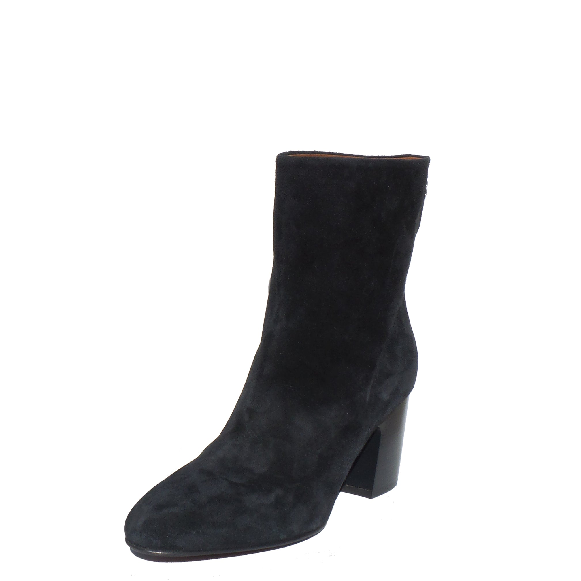 1dddfede22fd CHANEL 16B Midnight Navy Blue Suede Silver CC Block Heel Short Boots 4 –  Encore Resale.com