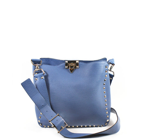 Valentino Small Powder Blue Pebbled Leather Hobo
