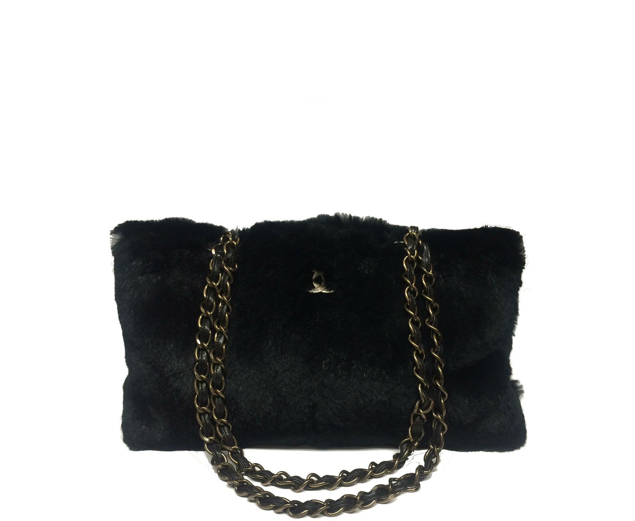 Chanel Black Rabbit Fur Bag - Encore Consignment - 1