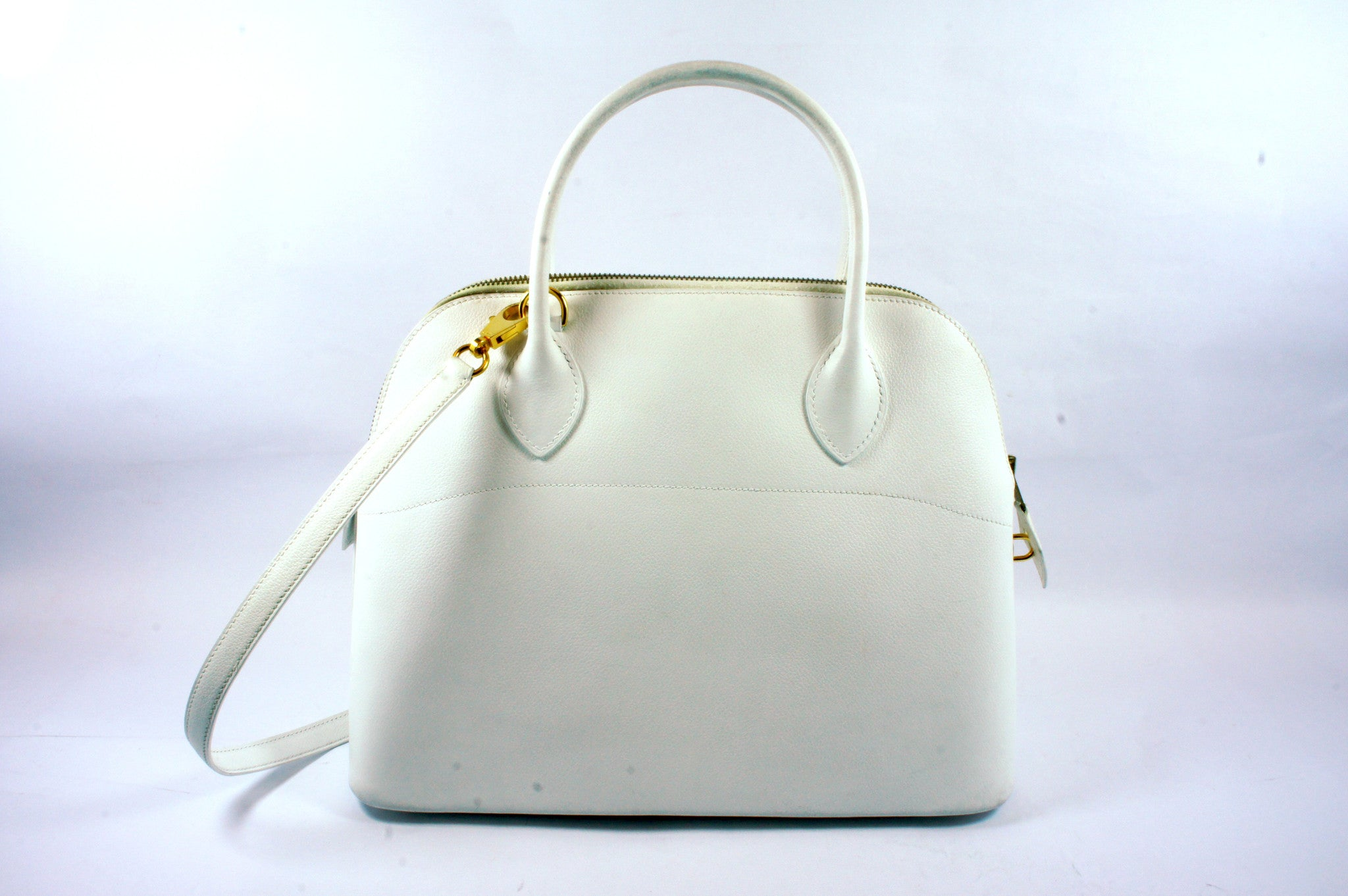 "Hermés White ""Bolide"" Bag - Encore Consignment - 2"