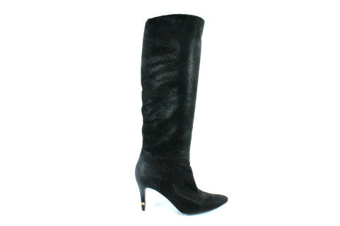 Chanel Matte Metallic Suede Knee High Boots (Size 38) - Encore Consignment - 2