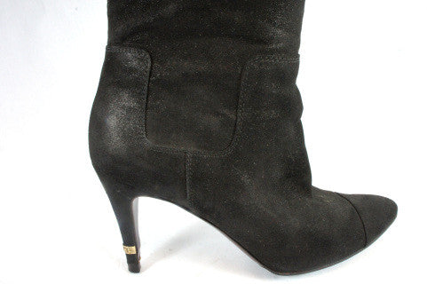 Chanel Matte Metallic Suede Knee High Boots (Size 38) - Encore Consignment - 3