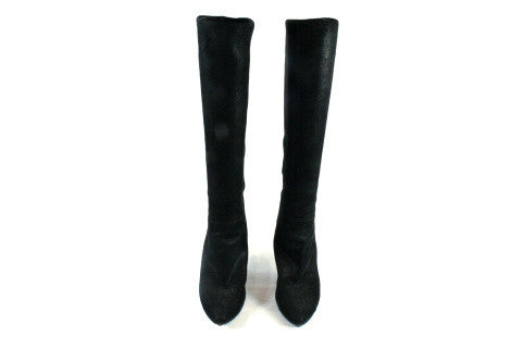Chanel Matte Metallic Suede Knee High Boots (Size 38) - Encore Consignment - 4