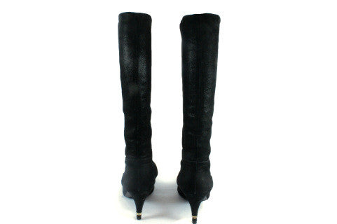 Chanel Matte Metallic Suede Knee High Boots (Size 38) - Encore Consignment - 5