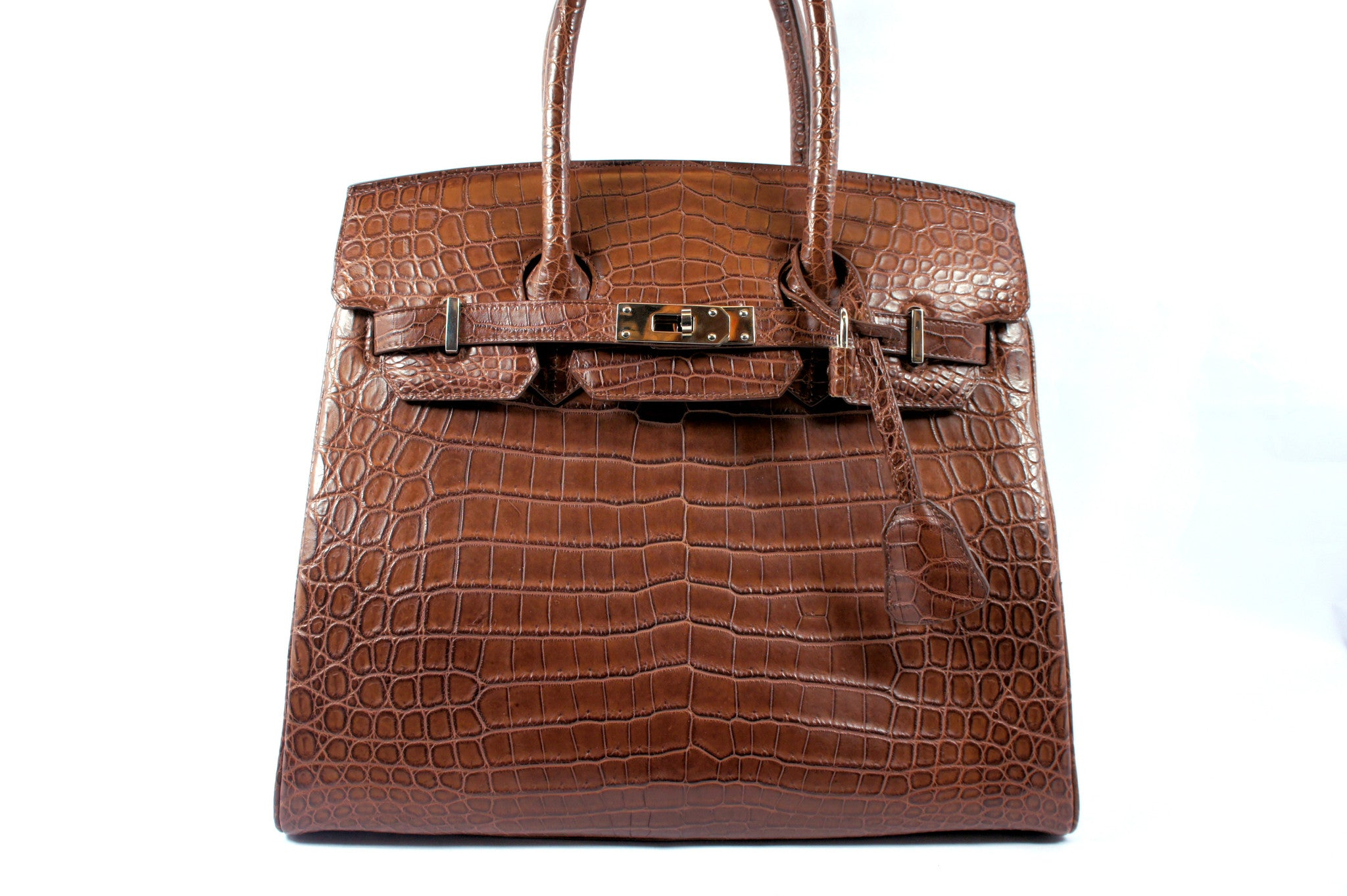Kwanpen Brown Crocodile Skin Handbag - Encore Consignment - 2