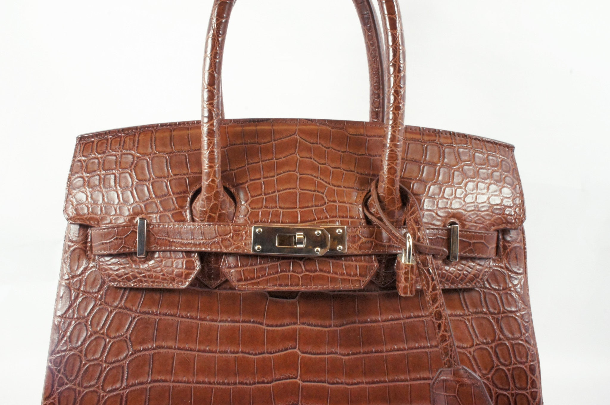 Kwanpen Brown Crocodile Skin Handbag - Encore Consignment - 1
