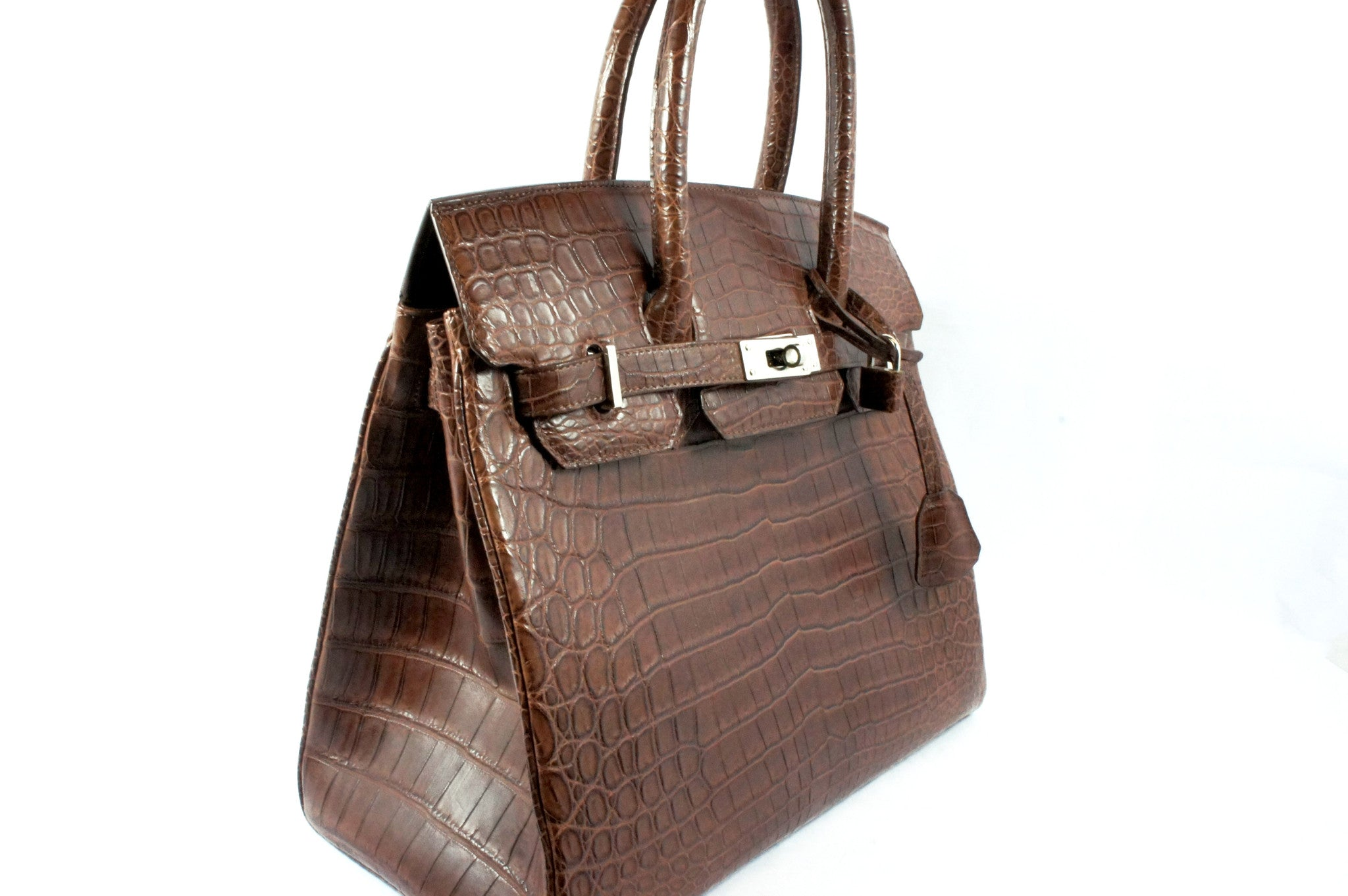 Kwanpen Brown Crocodile Skin Handbag - Encore Consignment - 3