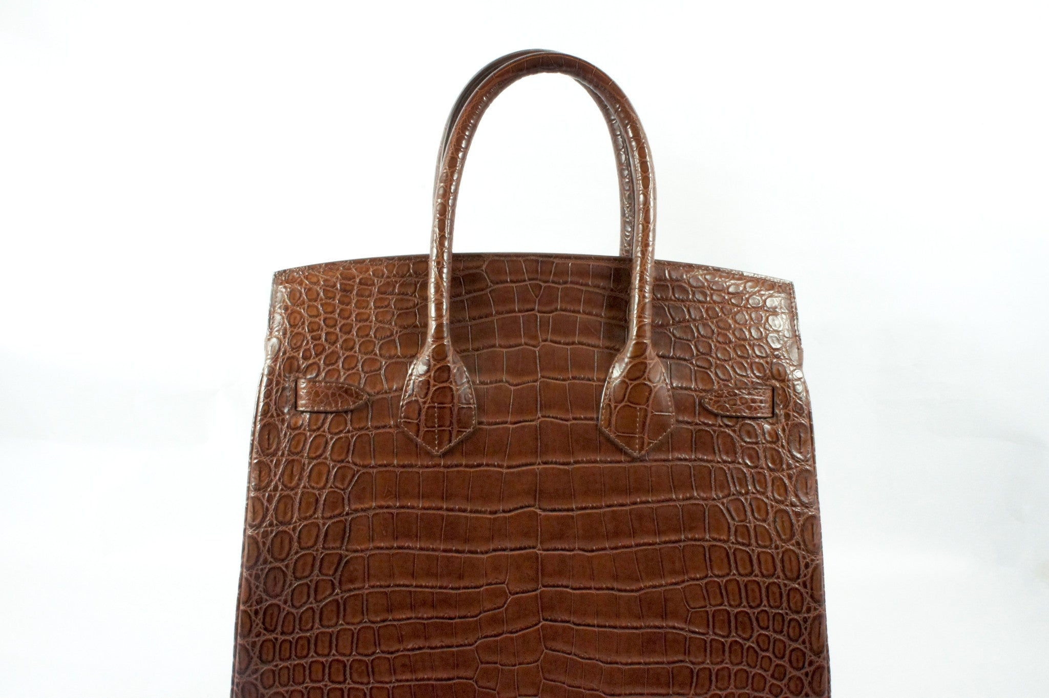 Kwanpen Brown Crocodile Skin Handbag - Encore Consignment - 4