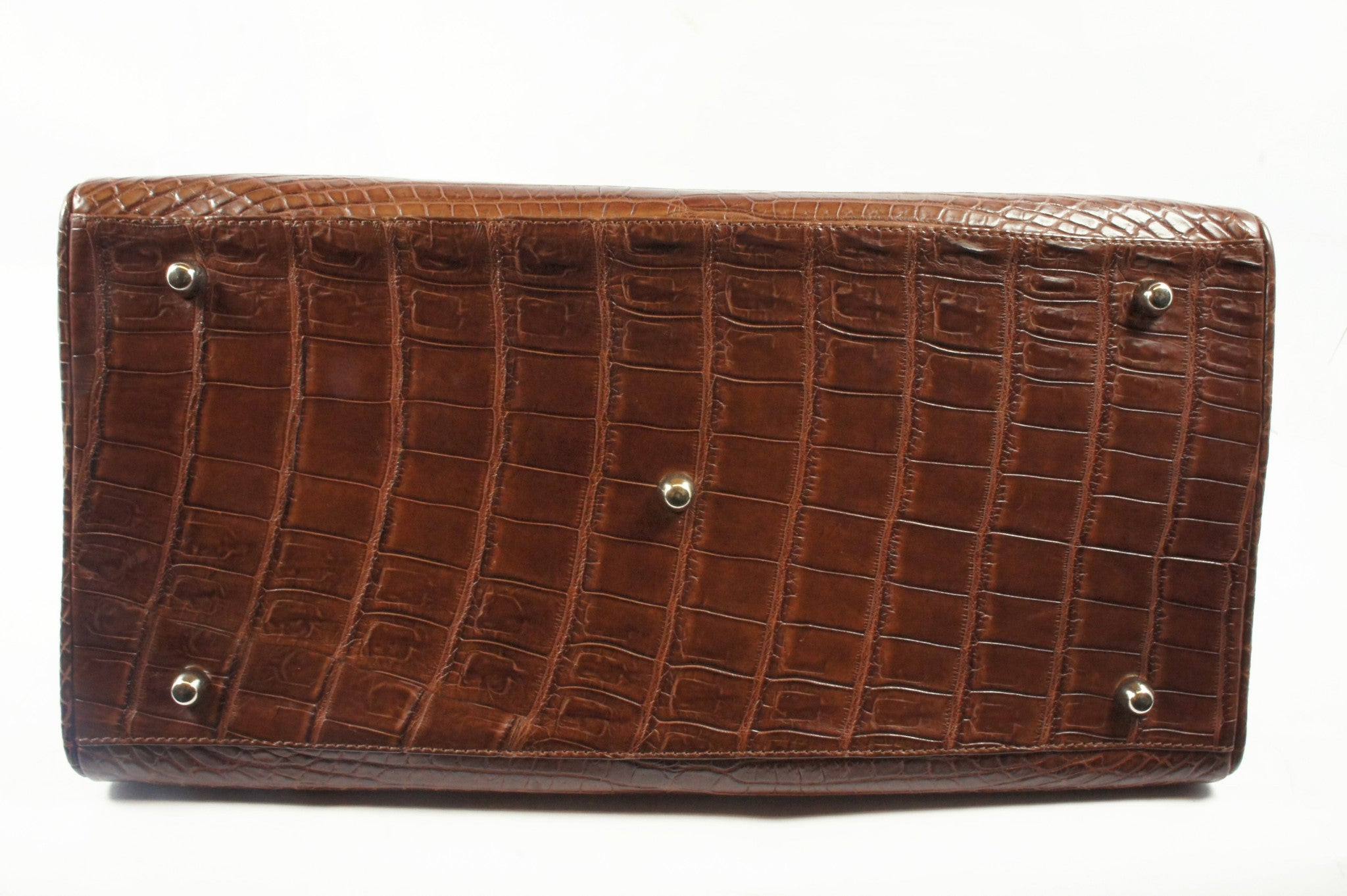 Kwanpen Brown Crocodile Skin Handbag - Encore Consignment - 8