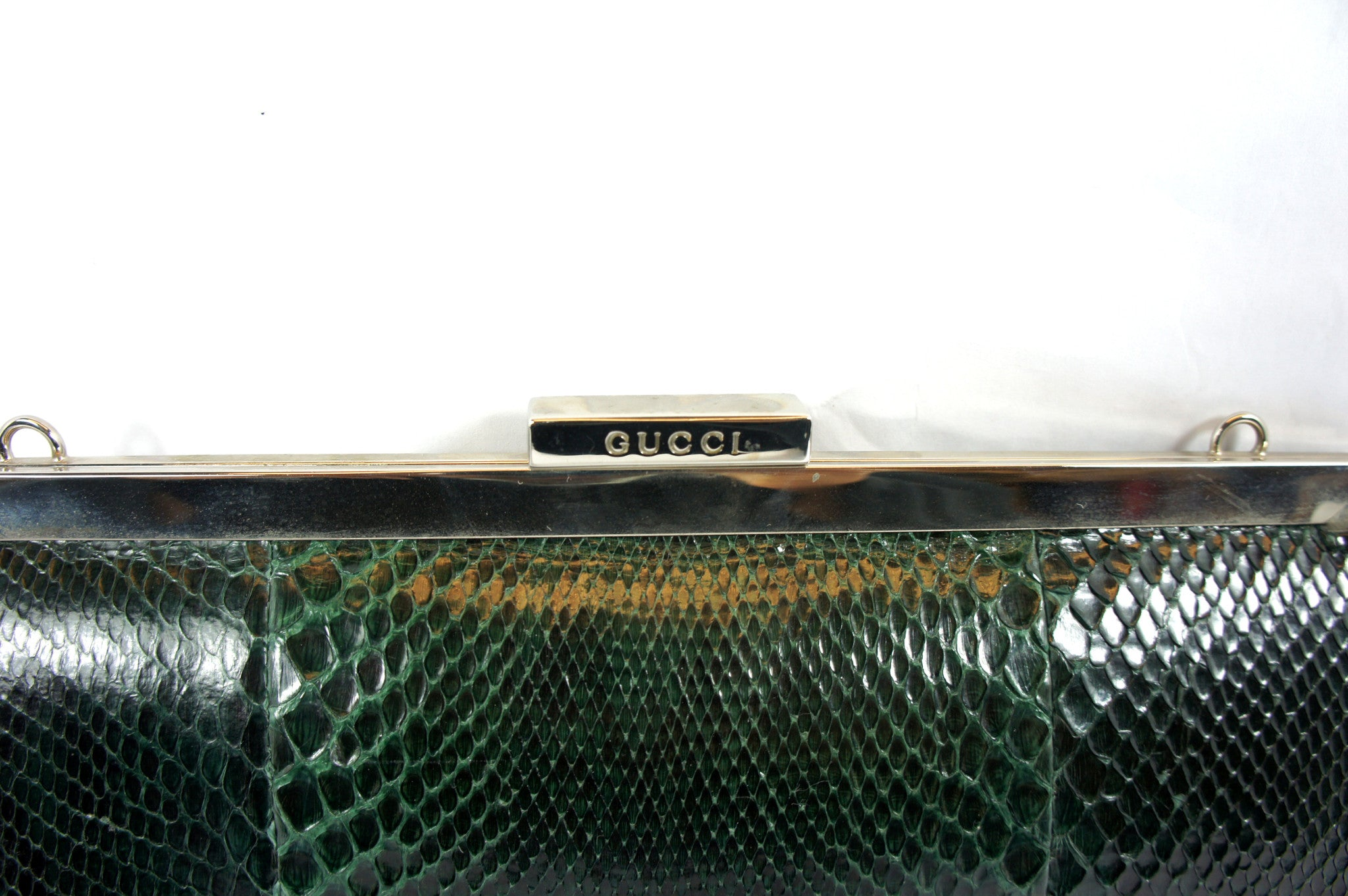 Gucci Snakeskin Green Clutch - Encore Consignment - 2
