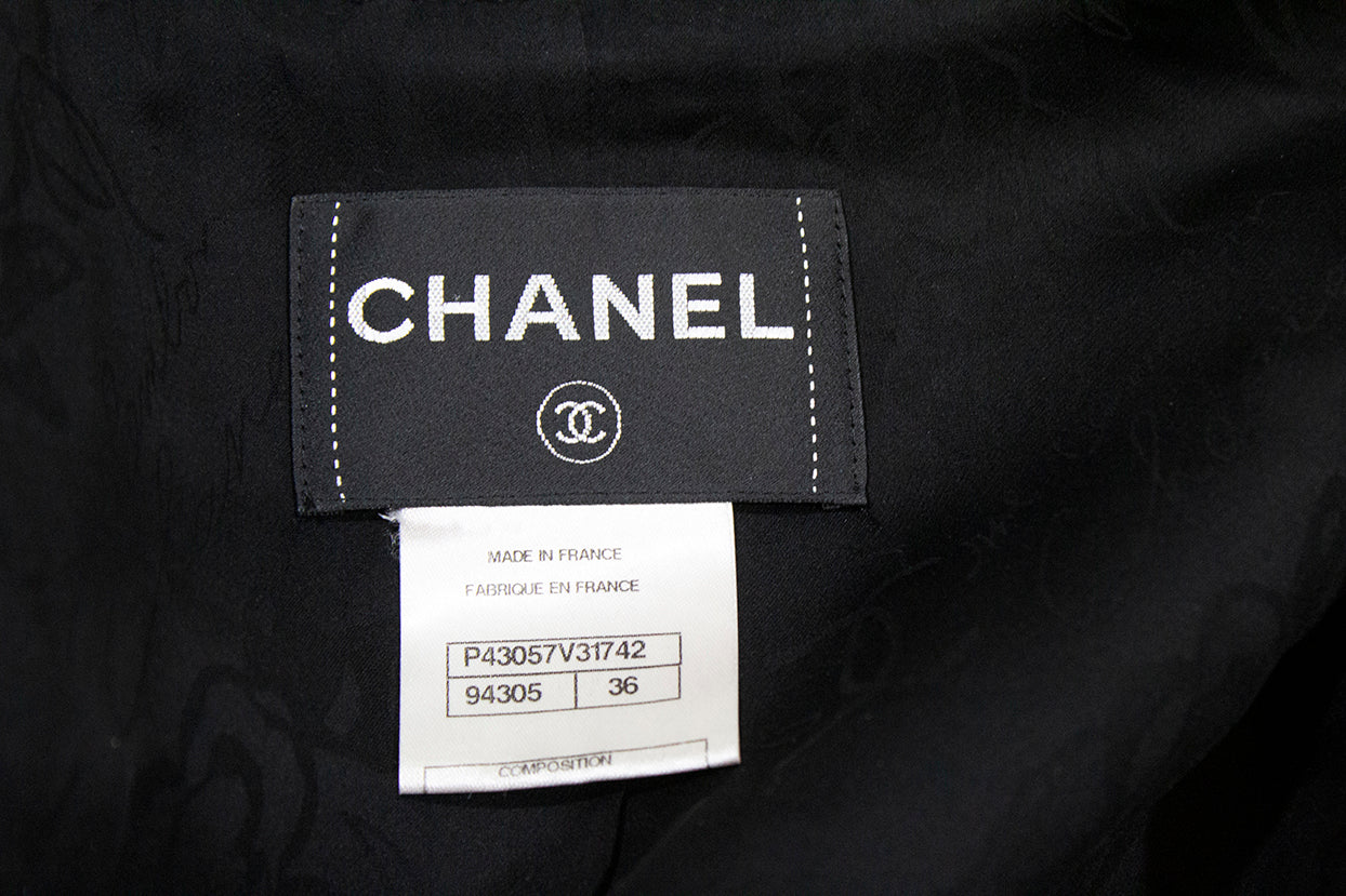 'Sold' CHANEL 12P Black Tweed Silver CC Double Breasted 3/4 Sleeve Blazer Jacket 36 GUC