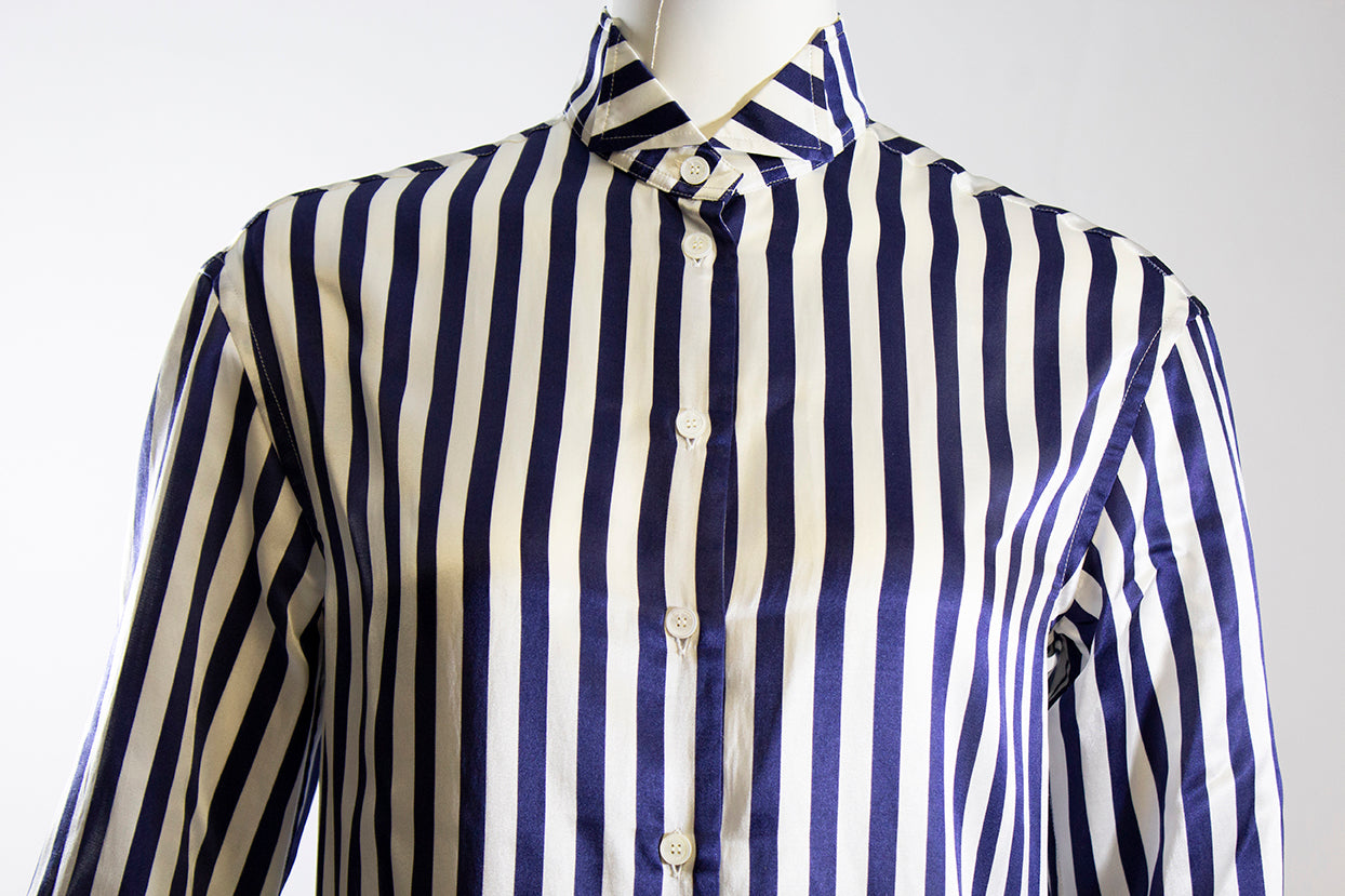 BURBERRY Indigo Blue Ivory Striped Silk Cotton Sateen Tunic Shirt Dress IT36 2