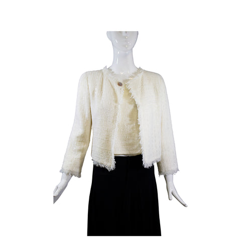 CHANEL 00C Ivory Creme Sequin Fringe Trim Blazer Jacket + Shell Top 2pc Set 36 S
