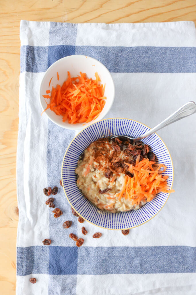 carrot cake oatmeal with raisins