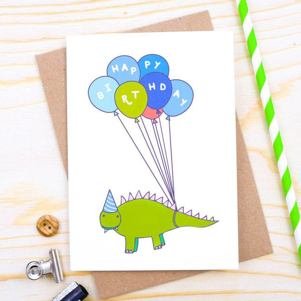 Card - Dinosaur Balloon Birthday Card