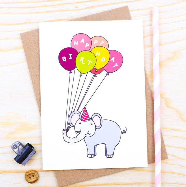 Card - Elephant Balloon Birthday Card
