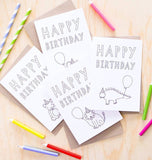 Card - 'Happy Birthday' Colour In Card Four Pack