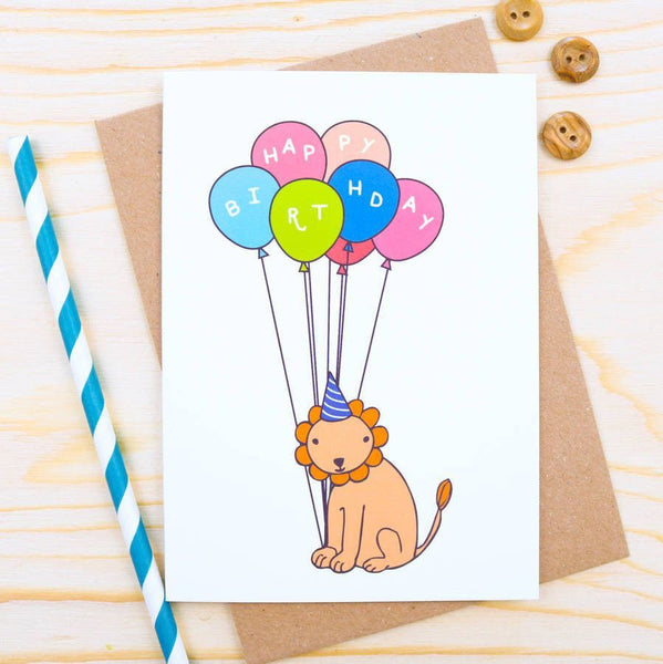 Card - Lion Balloon Birthday Card
