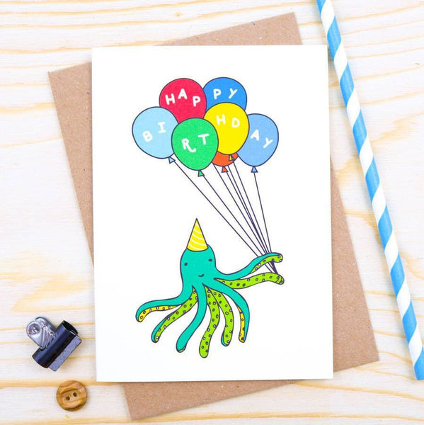 Card - Octopus Balloon Birthday Card