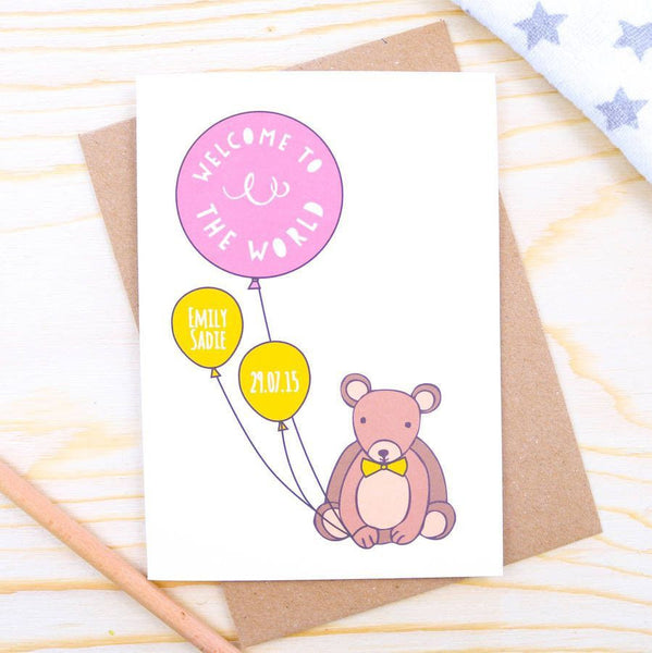 Card - Personalised Baby Girl Bear Card