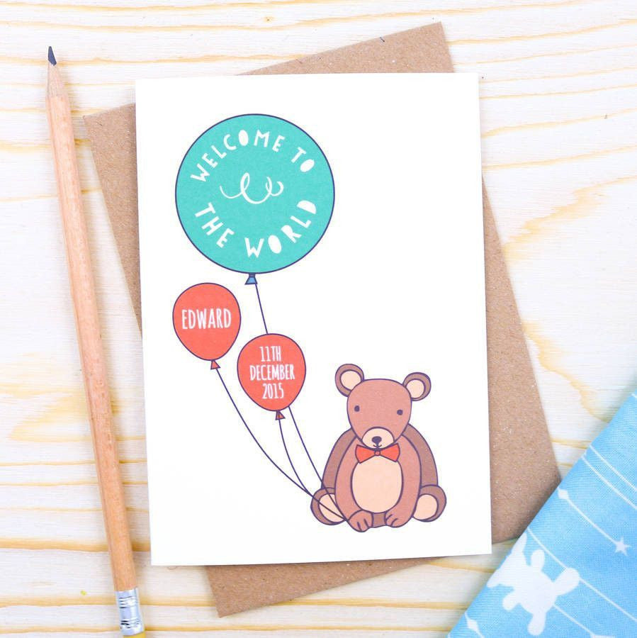 Card - Personalised Bear Baby Card