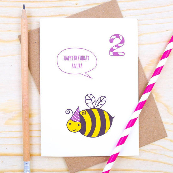 Card - Personalised Bumble Bee Birthday Card