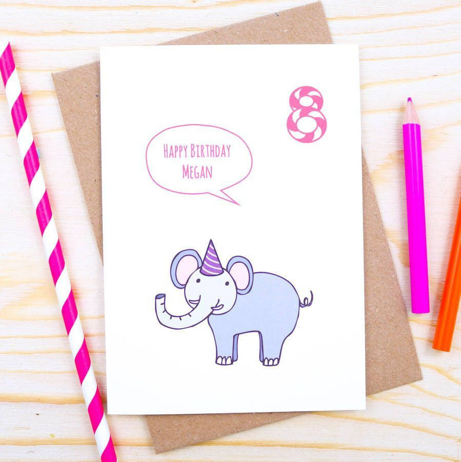 Card - Personalised Elephant Birthday Card