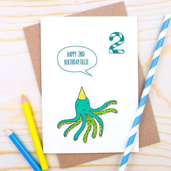 Card - Personalised Octopus Birthday Card