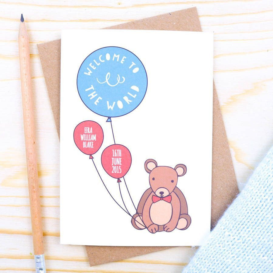 Personalised Baby Card - Personalised Bear Baby Boy Card
