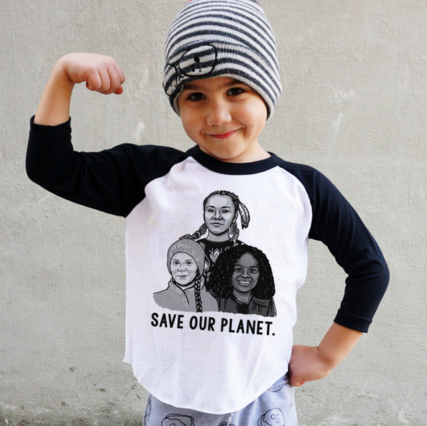 Save Our Planet black and white baseball tee