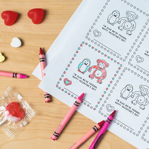 Owen & Orla Free Printable Valentines, Color Yourself Version