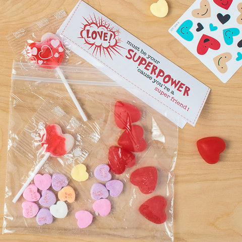 Love Must Be Your Superpower Free Printable Valentines Bag Topper