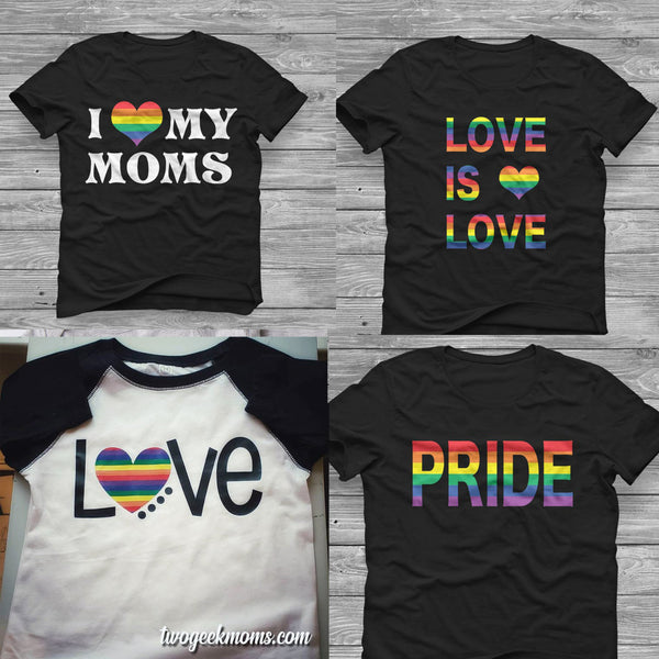Two Geek Moms Pride Shirts for Kids