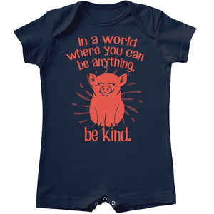 In A World Where You Can Be Anything, Be Kind Baby Shorty Romper