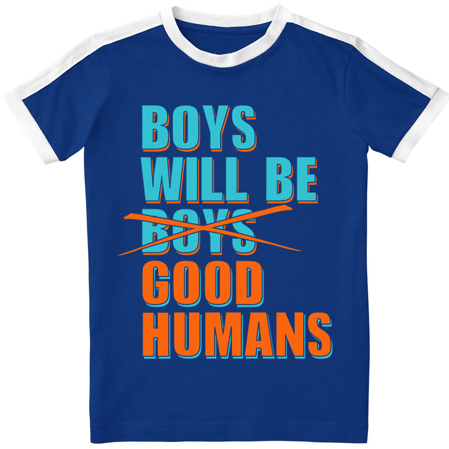 Sample Sale: Boys Will Be Good Humans (TM) Kids Ringer Tee