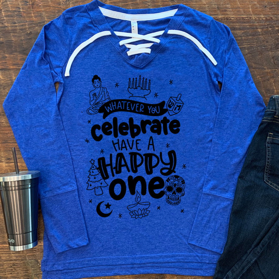 Whatever You Celebrate Lace-Up Ladies Long Sleeve Tee