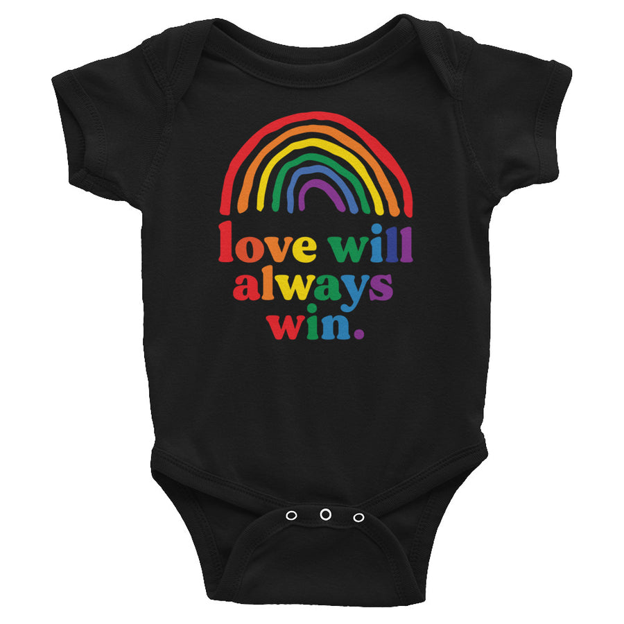 Love Will Always Win Rainbow Pride Flag Baby Onesie