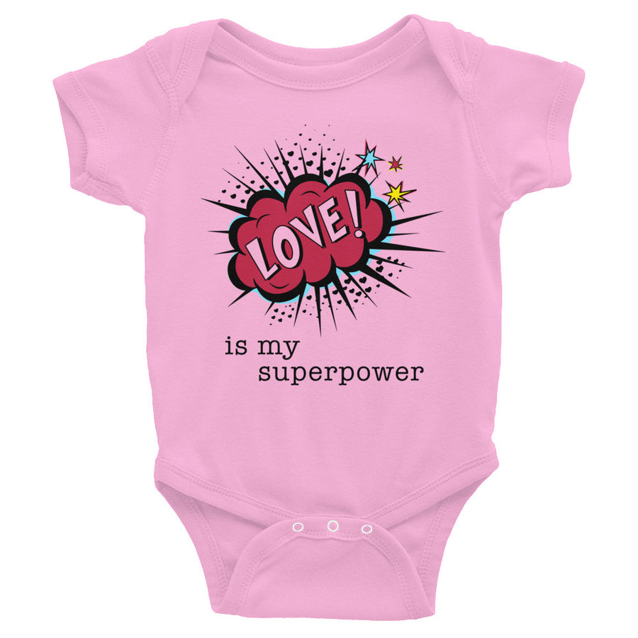 Love Is My Superpower Baby Onesie
