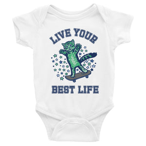 Live Your Best Life Skate Kitty Baby Onesie