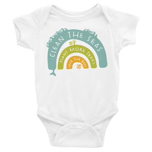 Clean The Seas, Plant More Trees, Save The Bees Baby Onesie