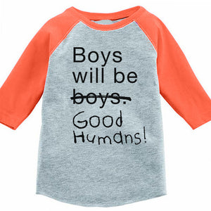Boys Will Be Good Humans (TM) Kids Baseball Tee