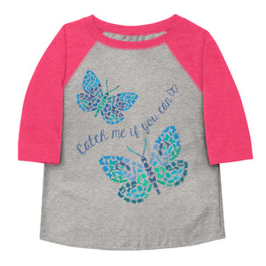Catch Me If You Can Bugs And Butterflies Toddler Baseball Tee