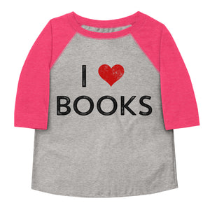 I Love Books Toddler Baseball Tee