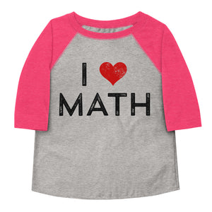 I Love Math Toddler Baseball Tee