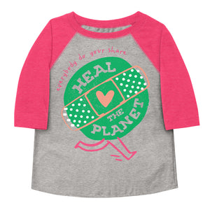 Heal The Planet Toddler Baseball Tee