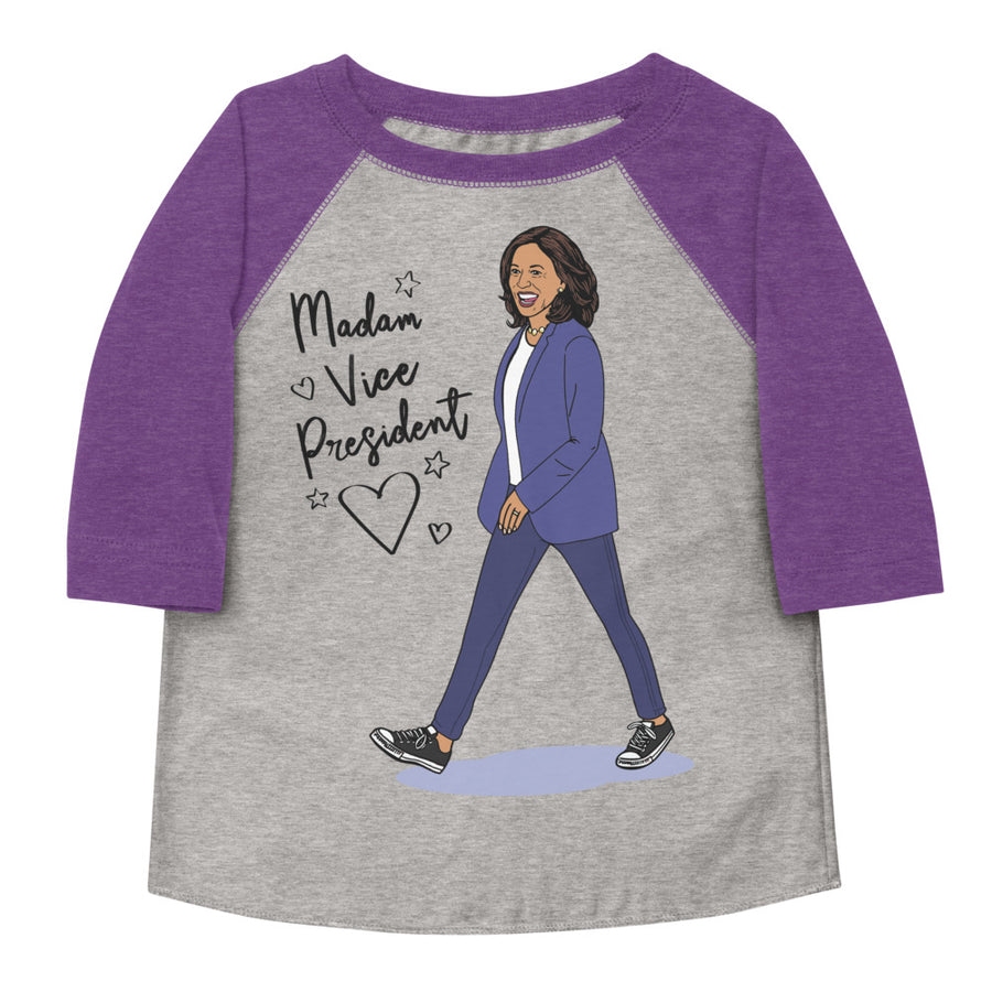 Madam Vice President Toddler Baseball Tee